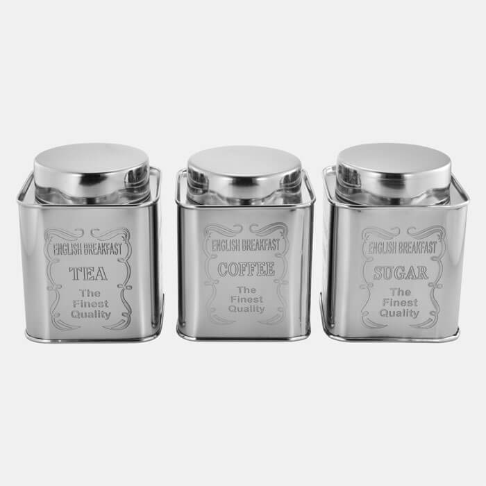SILVER SQUARE CONTAINER WI9TH ENGRAVING SET OF 3 PCS TEA COFFEE SUGAR