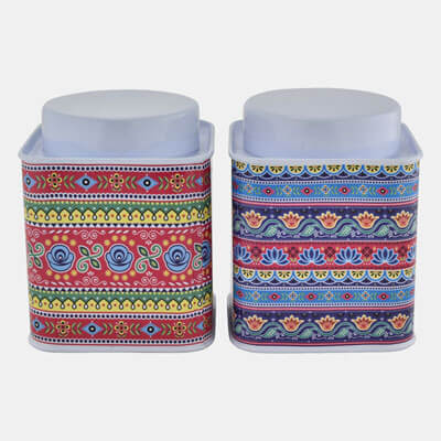 WHITE SQUARE CONTAINER WITH FLORAL PATTERN  SET OF 2 PCS
