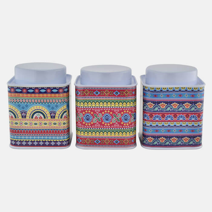 WHITE SQUARE CONTAINER WITH FLORAL PATTERN  SET OF 3 PCS