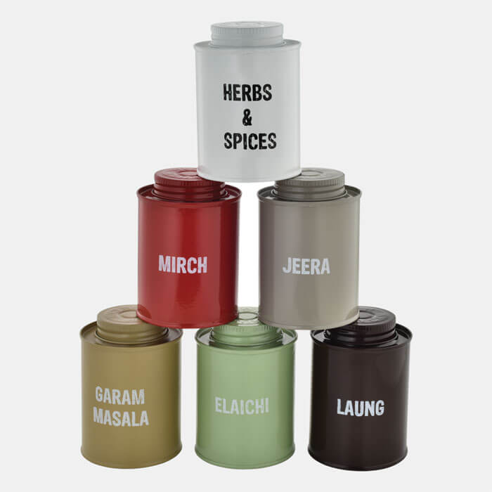 MULTICOLORED SPICE BOXES SET OF 6 PCS MIRCH,ZEERA,LAUNG,ELAICHI,GARAM MASALA & HERB&SPICES