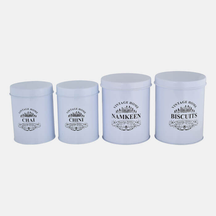 WHITE VINTAGE HOME STORAGE CONTAINER SET OF 4 PCS CHAI,CHINI & BISCUITS,NAMKEEN