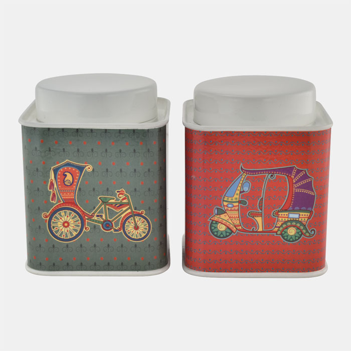 CREM SQUARE CONTAINER WITH INDIAN THEME SET OF 2 PCS