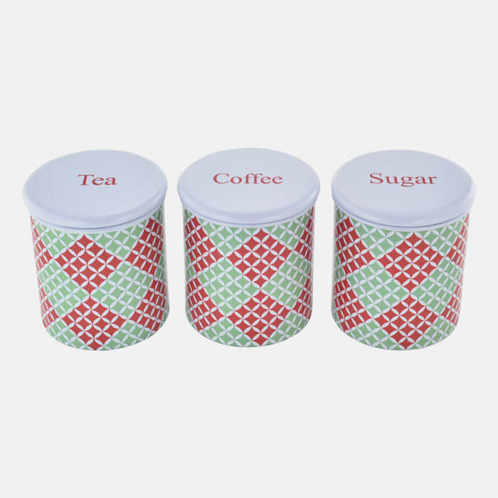 MULTI COLORED  STORAGE CONTAINER SET OF 3 PCS. TEA COFFEE SUGAR