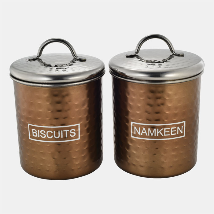 BRONZE HAMMERED STORAGE CONTAINER SET OF 2 PCS BISCUITS & NAMKEEN
