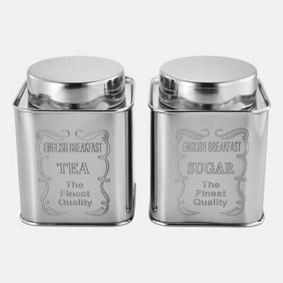 SILVER SQUARE CONTAINER WITH ENGRAVING SET OF 2 PCS TEA SUGAR