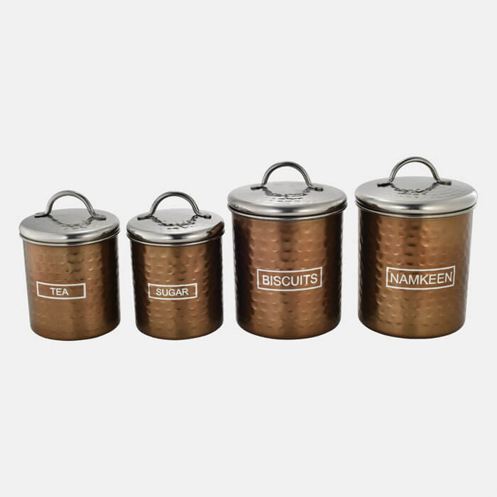 BRONZE HAMMERED STORAGE CONTAINER SET OF 4 PCS TEA,SUGAR & BISCUITS,NAMKEEN