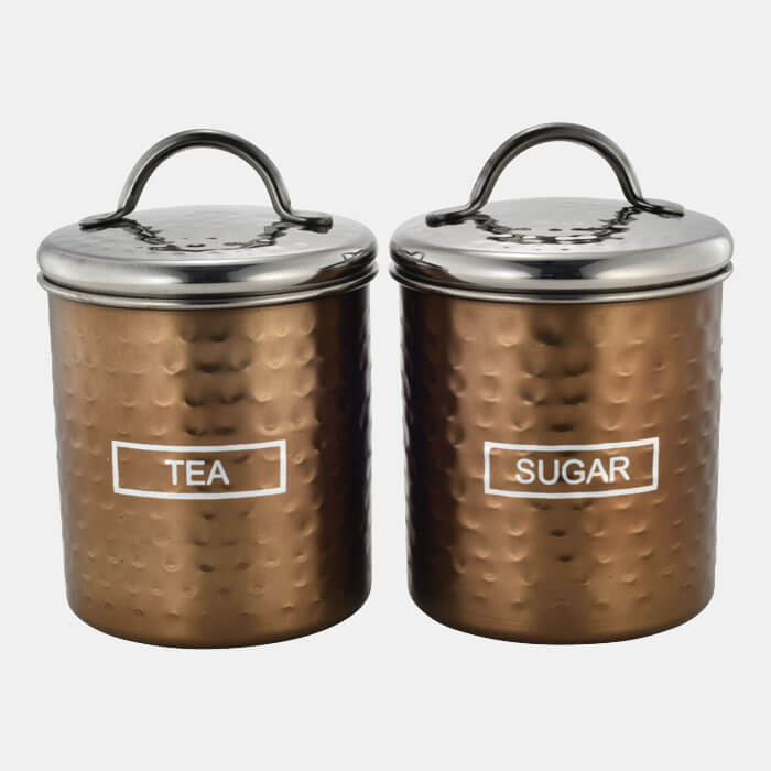 BRONZE HAMMERED STORAGE CONTAINER SET OF 2 PCS TEA & SUGAR