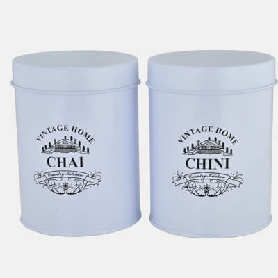 VINTAGE HOME STORAGE CONTAINER SET OF 2 PCS. CHAI & CHINI