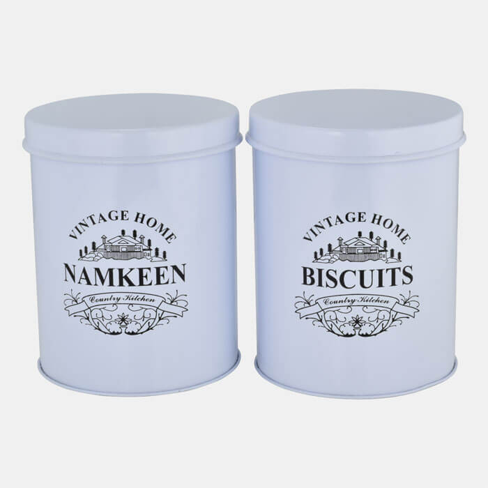 WHITE VINTAGE HOME STORAGE CONTAINER SET OF 2 PCS. BISCUITS & NAMKEEN