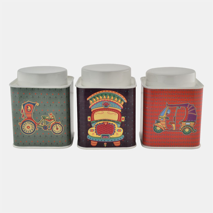 CREAM SQUARE CONTAINER WITH INDIAN THEME SET OF 3 PCS